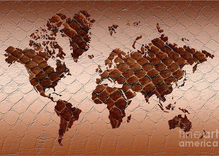 world Map Greeting Card featuring the painting Snake Skin World Map by Zaira Dzhaubaeva