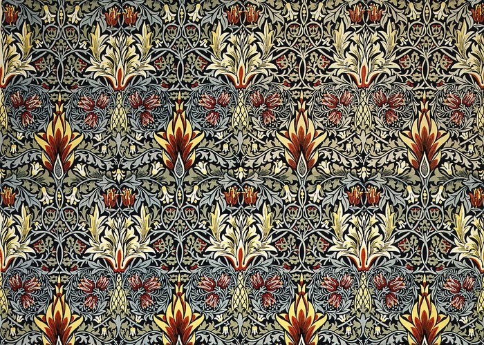 William Greeting Card featuring the tapestry - textile Snakeshead by William Morris