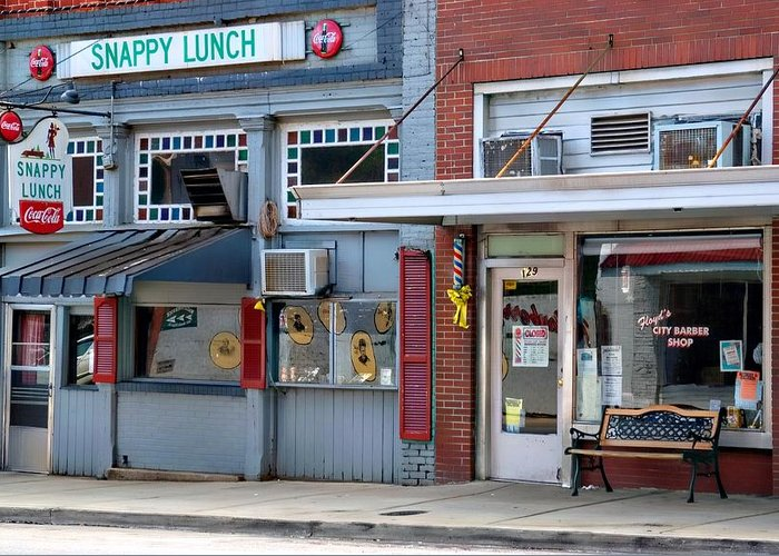 Snappy Lunch Greeting Card featuring the photograph Snappy Lunch And Floyd Nc by Bob Pardue