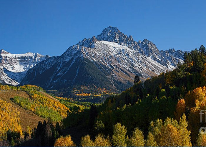 Autumn Colors Greeting Card featuring the photograph Sneffels Panorama by Jim Garrison