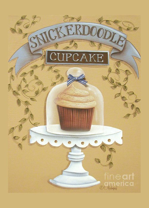 Art Greeting Card featuring the painting Snickerdoodle Cupcake by Catherine Holman