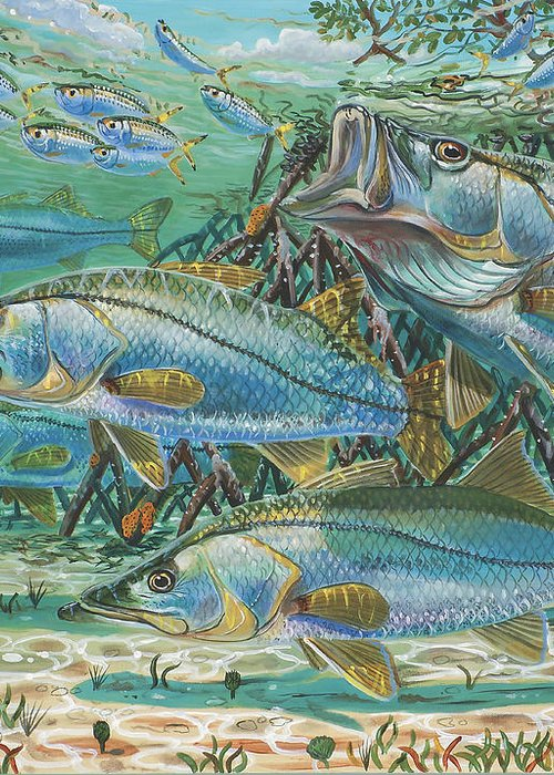 Snook Greeting Card featuring the painting Snook Attack In0014 by Carey Chen