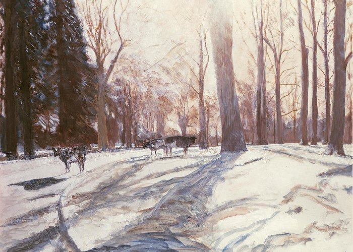 Cattle Greeting Card featuring the painting Snow At Broadlands by Paul Stewart
