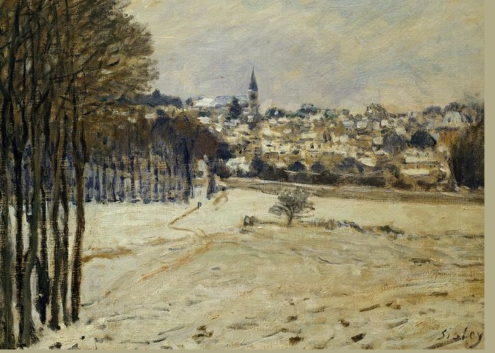 Art; Painting; Sisley Alfred; Snow; Winter; Impressionism Greeting Card featuring the painting Snow At Marly-le-roi by Alfred Sisley