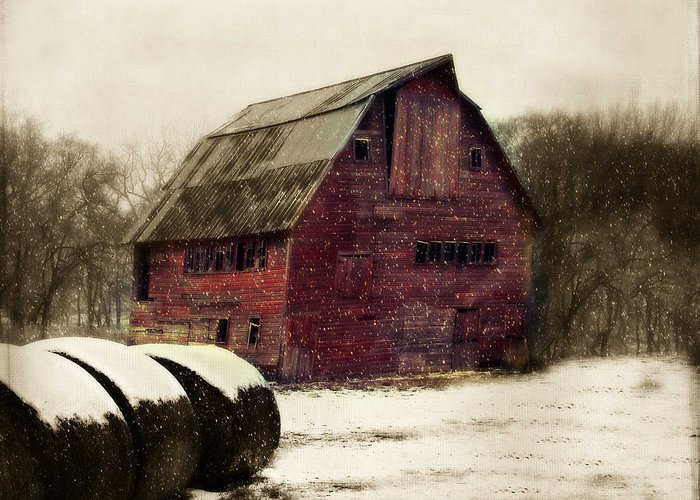 Barn Greeting Card featuring the photograph Snow Bales by Julie Hamilton