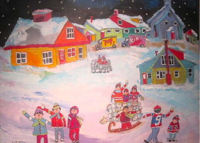 Snowball Fight Greeting Card featuring the painting Snow Battle Winter Memories by Michael Litvack