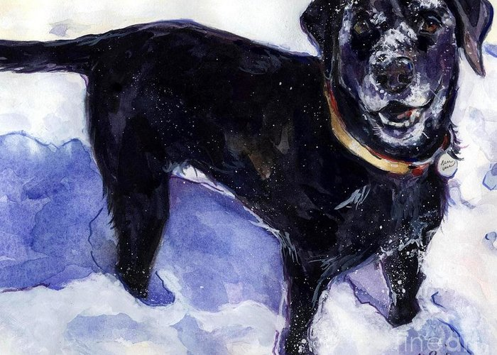 Black Dog Greeting Card featuring the painting Snow Belle by Molly Poole