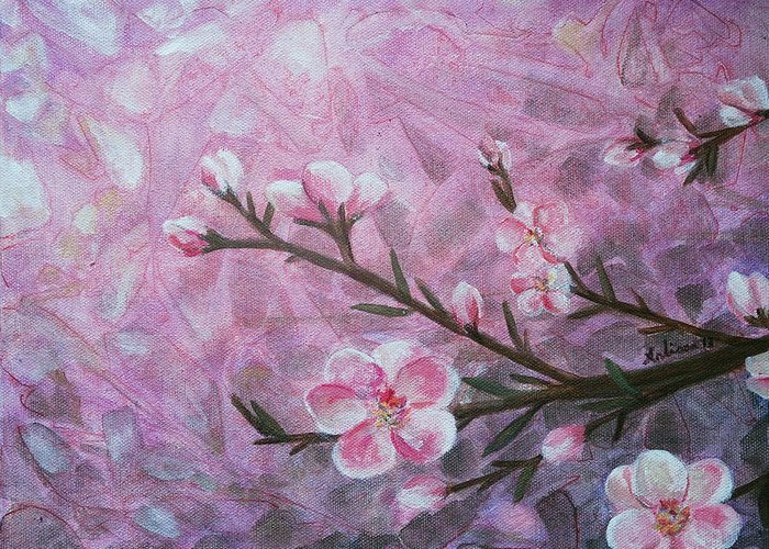 Blossom Greeting Card featuring the painting Snow Blossom by Arlissa Vaughn