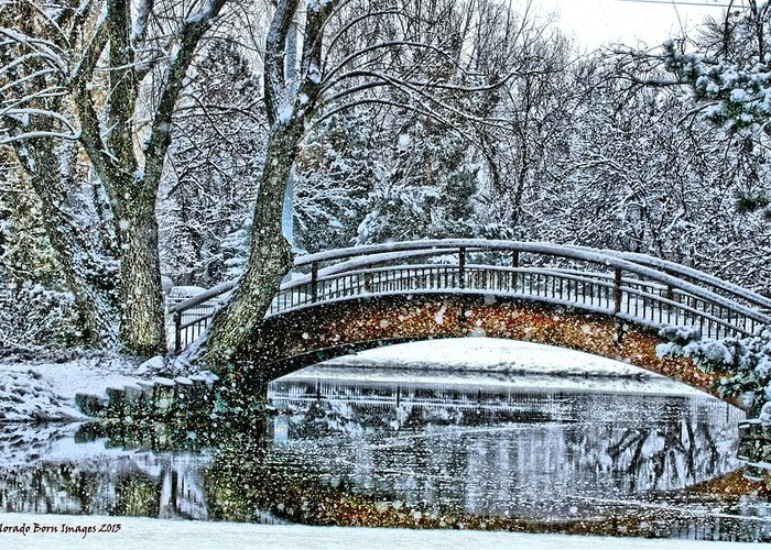 Snow Greeting Card featuring the photograph Snow Bridge by Rebecca Adams