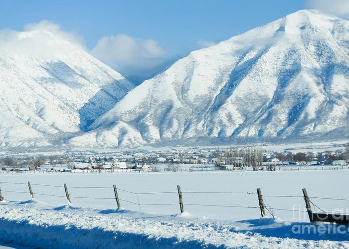 Snow Greeting Card featuring the photograph Snow Capped Mountains by Gloria Pasko