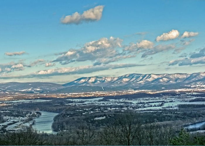 Blue Ridge Mountains Winter Scene Greeting Card featuring the photograph Snow Covered Blue Ridge by Lara Ellis