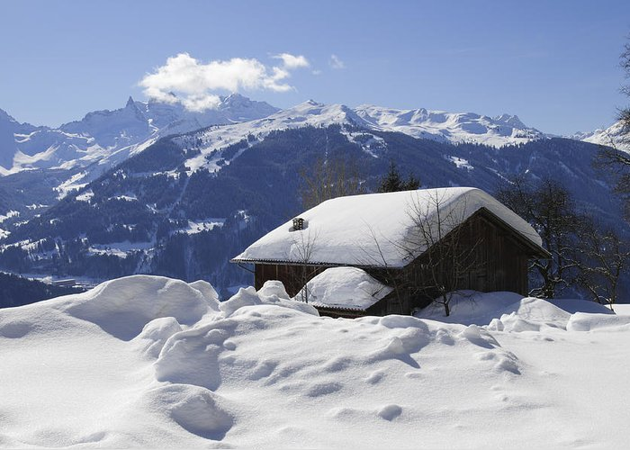 Winter Greeting Card featuring the photograph Snow-covered House In The Mountains In Winter by Matthias Hauser