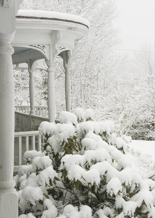 Winter; Winter Weather; Snow; Snowstorm; Porch; Victorian Porch; Deck; Architecture; House; Rhododendrun; Winter In Maine; Maine Winter; Victorian Architecture; Maine Landscapes; Cold Weather; Countryside; Maine Countryside; Rural Maine; Snowing; Cold; Ice; Overcast; Weather; Landscape; Frozen; December; January; Rural Scene; Non Urban Scene; Scenic; Scenic Maine; Tree; White; Outdoor Greeting Card featuring the photograph Snow Covered Porch by Keith Webber Jr