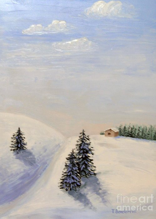 Snow Greeting Card featuring the painting Snow-covered Valley by Tatyana Bondareva