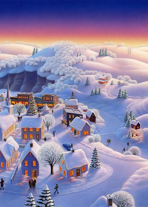 Winter Landscapes Greeting Card featuring the painting Snow Covered Village by Robin Moline