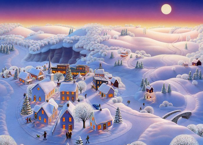 Snow Covered Village Greeting Cards