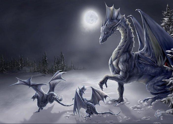 Dragon Greeting Card featuring the digital art Snow Day by Rob Carlos