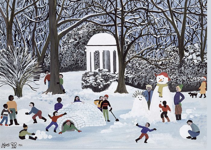 Igloo; Snowball; Snowmen; Ice Greeting Card featuring the painting Snow Follies by Judy Joel