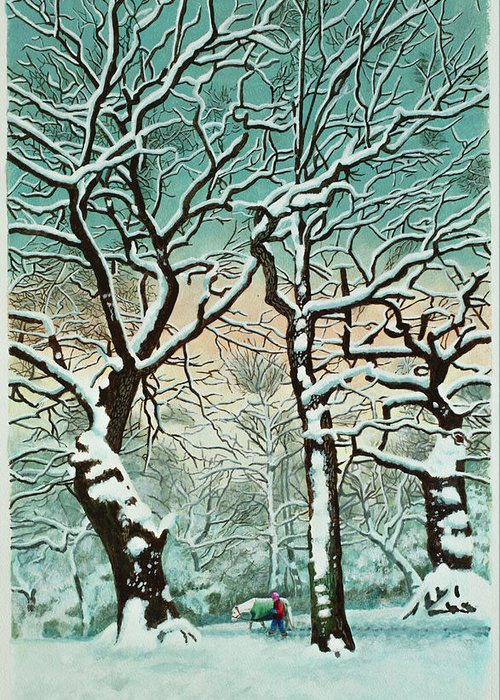 People Greeting Card featuring the digital art Snow In Forest by Georgette Douwma