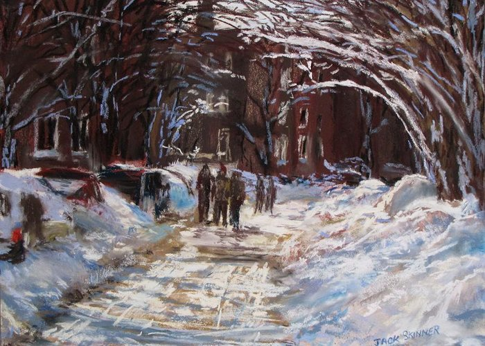 Snow Greeting Card featuring the painting Snow In The City by Jack Skinner