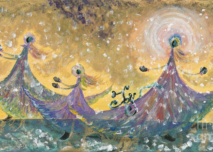 Joy Greeting Card featuring the painting Snow Joy by Nadine Rippelmeyer