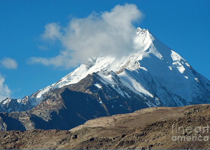 India Greeting Card featuring the photograph Snow Mountain by Yew Kwang