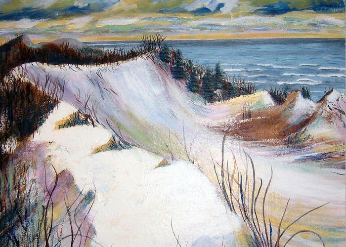 Snow Greeting Card featuring the painting Snow On The Dunes by Art Nomad Sandra Hansen