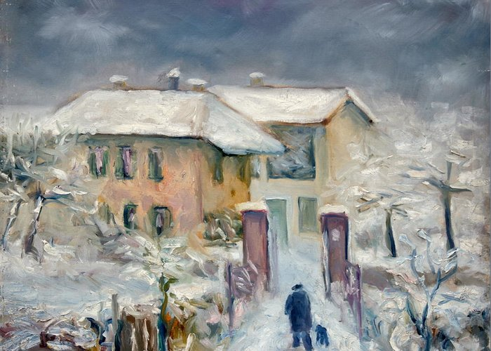 Snow Greeting Card featuring the painting Snow On The Farmhouse by Mario Zampedroni