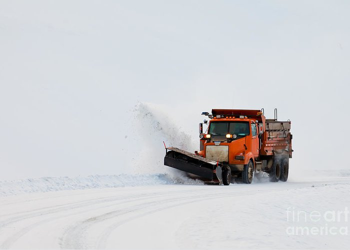 Access Greeting Card featuring the photograph Snow Plough Clearing Road In Winter Storm Blizzard by Stephan Pietzko