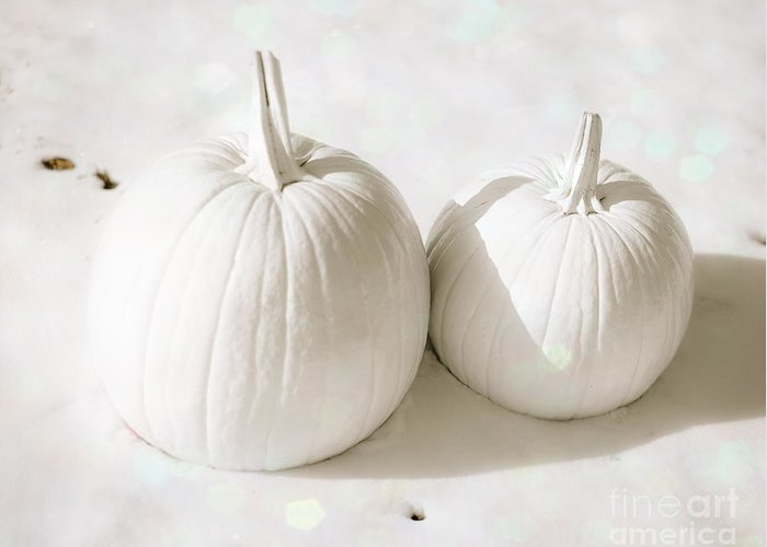 Snow Greeting Card featuring the photograph Snow Pumpkins by Sonja Quintero