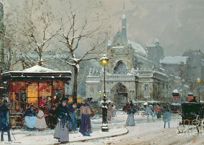 Gas Light Greeting Card featuring the painting Snow Scene in Paris by Eugene Galien-Laloue