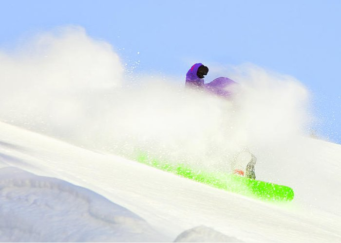 Snowboarding Greeting Card featuring the photograph Snow Spray by Theresa Tahara