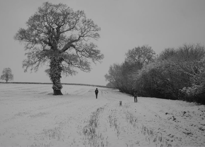 Wlking Greeting Card featuring the photograph Snow Walkers by Pete Abbott