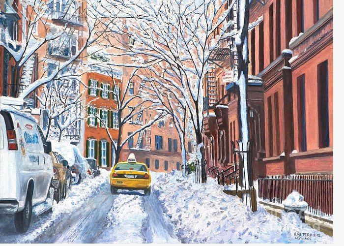 Snow Greeting Card featuring the painting Snow West Village New York City by Anthony Butera