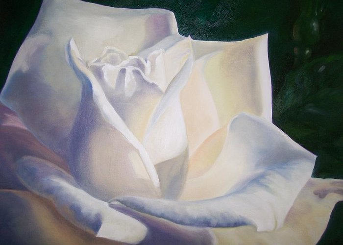 Close Up Floral White Rose Greeting Card featuring the painting Snow White by Ellen Ebert