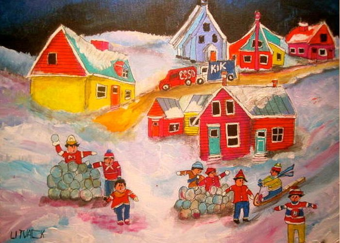 Snowball Fight Greeting Card featuring the painting Snowball Accident Montreal Memories by Michael Litvack