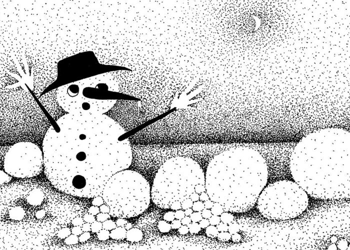 Designs Greeting Card featuring the drawing Snowball Fight by Joy Bradley