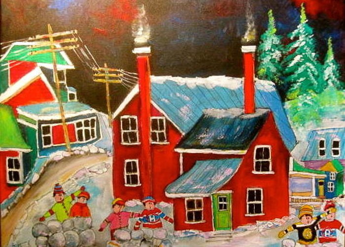 Snowball Fights Greeting Card featuring the painting Snowball Forts by Michael Litvack