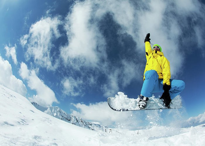 Young Men Greeting Card featuring the photograph Snowboarding by Yulkapopkova