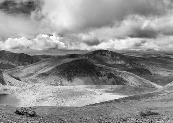 Beautiful Greeting Card featuring the photograph Snowdonia Panorama In Black And White by Jane Rix