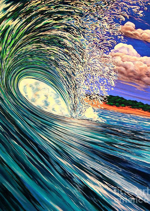 Surf Greeting Card featuring the painting Snowed In Tropics Style by Marty Calabrese
