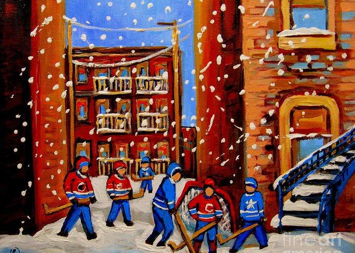 Hockey Art Greeting Card featuring the painting Snowfall Hockey Game Winter City Scene by Carole Spandau