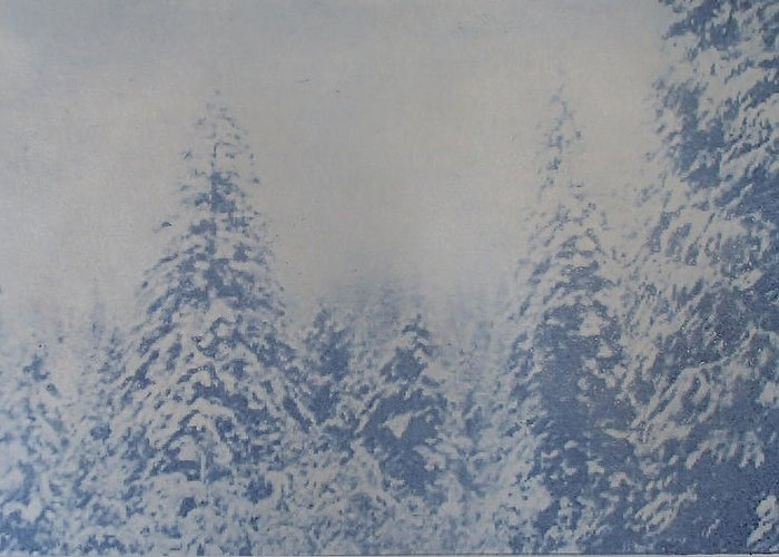 Yosemite Greeting Card featuring the painting Snowfall in Blue by Philip Fleischer
