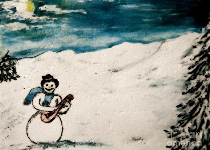 #snowman Greeting Card featuring the painting Snowman by Kathleen W Jones