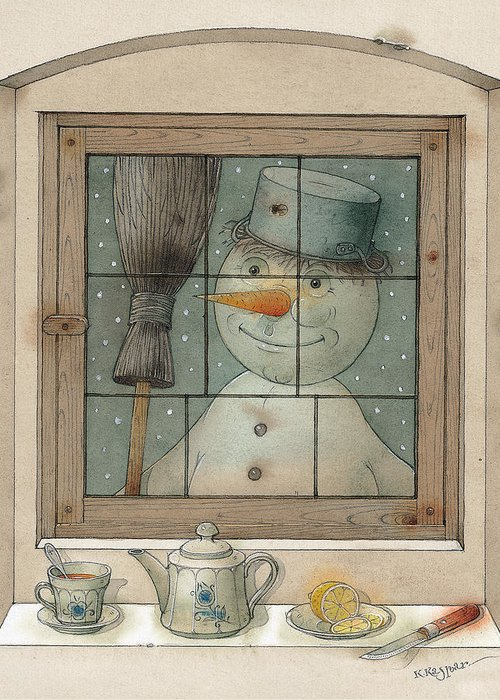 Snowman Winter Tea Breakfast Christmas Holiday Greeting Card featuring the painting Snowman by Kestutis Kasparavicius