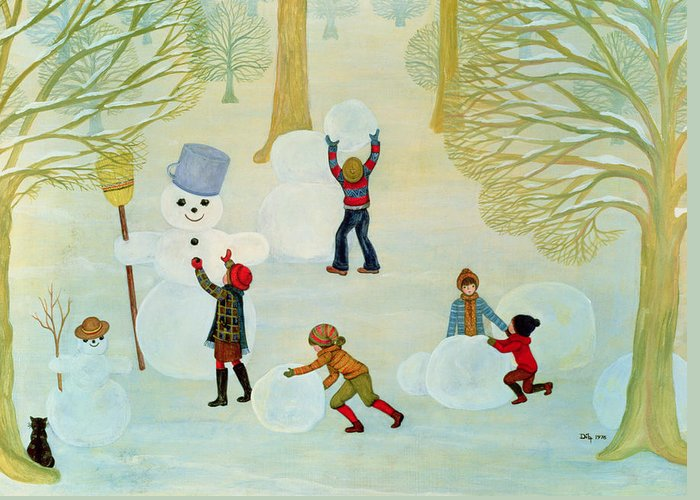 Winter Greeting Card featuring the painting Snowmen by Ditz