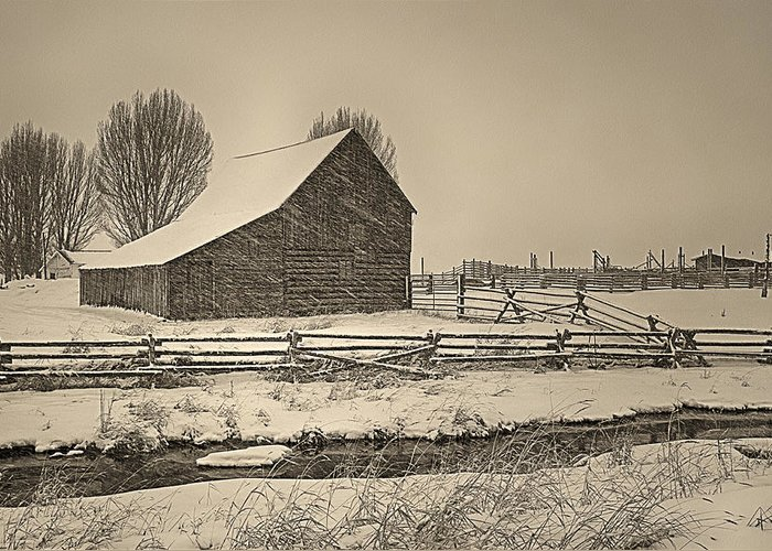 Barn Greeting Card featuring the photograph Snowstorm At The Ranch Sepia by Priscilla Burgers