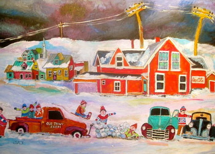 Snowstorm Greeting Card featuring the painting Snowstorm Helpers Montreal Memories by Michael Litvack