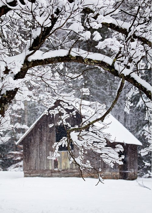Barn Greeting Card featuring the photograph Snowy Barn 2 by Rob Travis