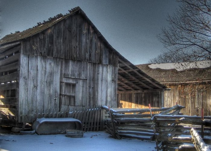 Barn Greeting Card featuring the photograph Snowy Barn by Jane Linders